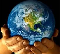 Hands handin earth over