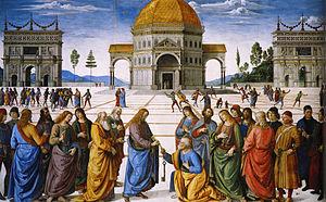 Peter kneels to Christ