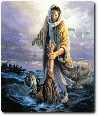 YHshua pulling Peter out of sea