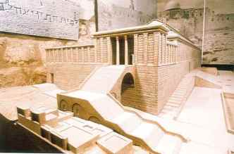 Pic of Model of Herod's Temple stairway to portico finished 26 CE
