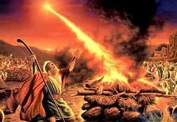 Eliyah and 400 pagan priests on mount Carmel