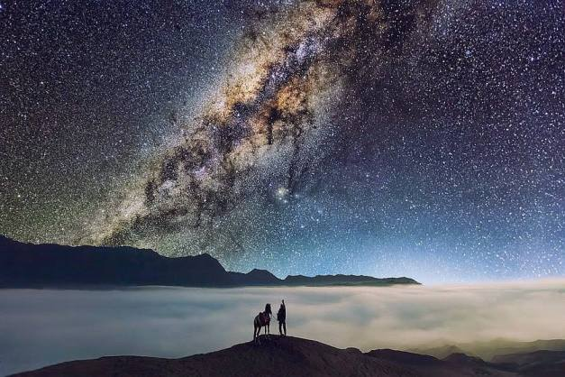 Man, horse and Milky Way
