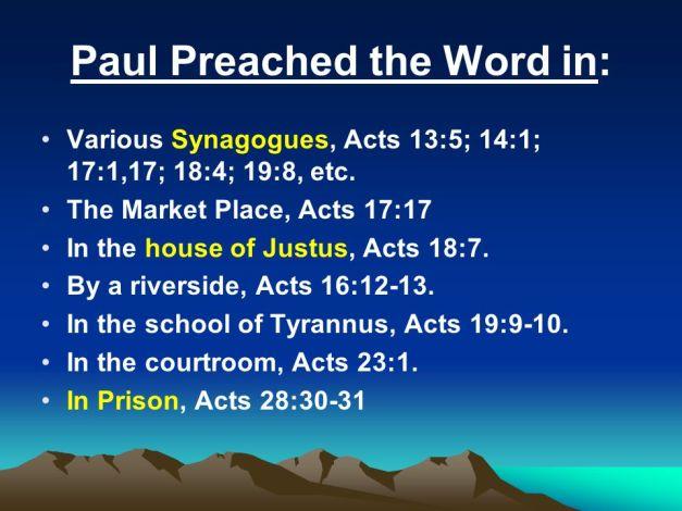 Paul preached various places