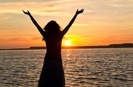 woman rejoicing