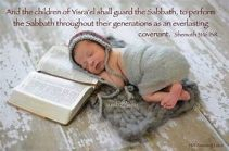 Baby shabbat sleeps on bible
